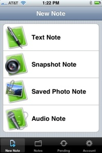 Evernote's interface for creating notes